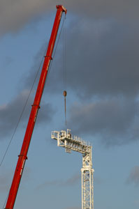 Crane assembly viewed from Lidl carpark