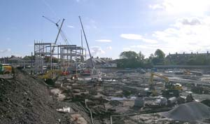 "From the ""Asda"" Bridge showing the first steelwork being erected"