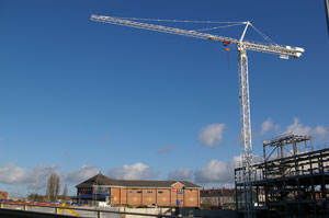 The Mecca Bingo Hall with the crane towering above