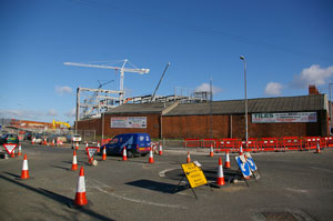 Wrexham Colour Supplies with the steelwork and crane in the background
