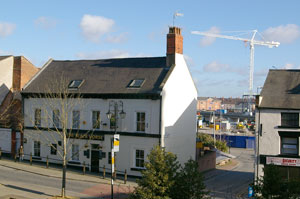 The Black Horse pub with the crane in the background