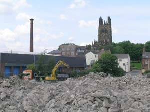 Looking towards St Giles church and the former Border Brewery